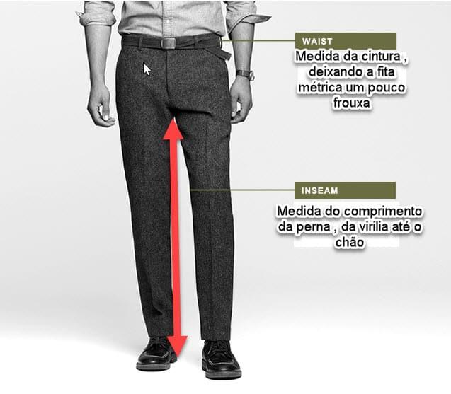 a047663ff Para converter o tamanho de calças masculinas é muito simples, basta pegar  a medida da cintura em polegadas e a medida da perna em polegadas, ...