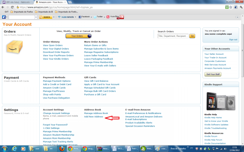 configurar conta no Amazon