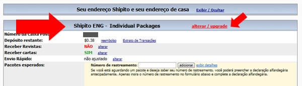Upgrade para Shipito Virtual Mailbox