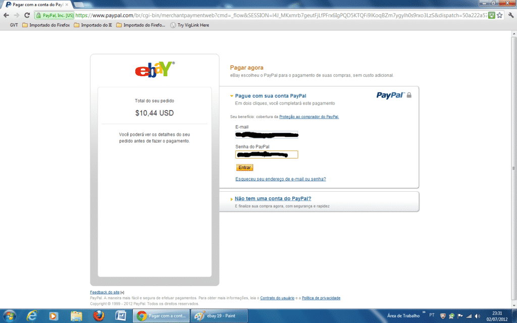 Fazendo pagamento do Ebay com Paypal
