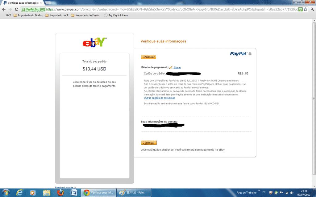 Fazendo pagamento no Ebay