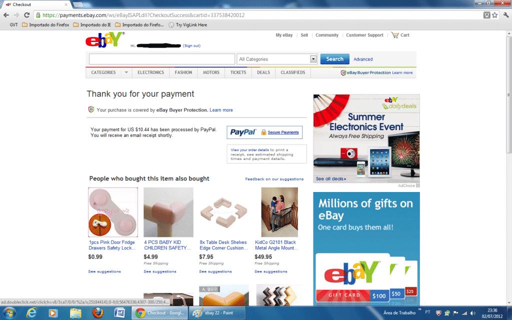 confirmação de compra no Ebay