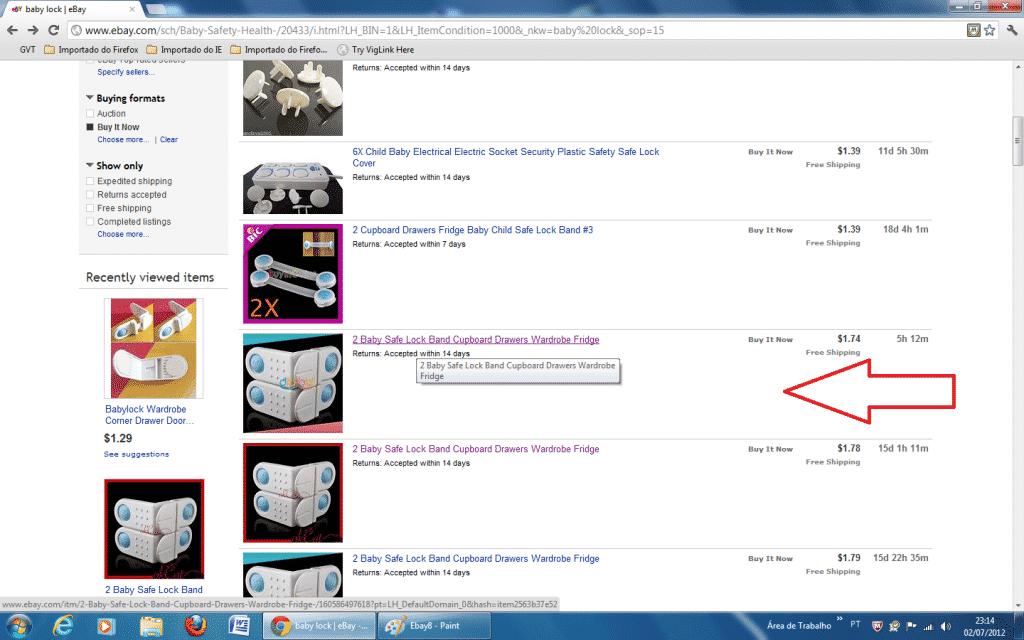 Fazendo uma compra no Ebay
