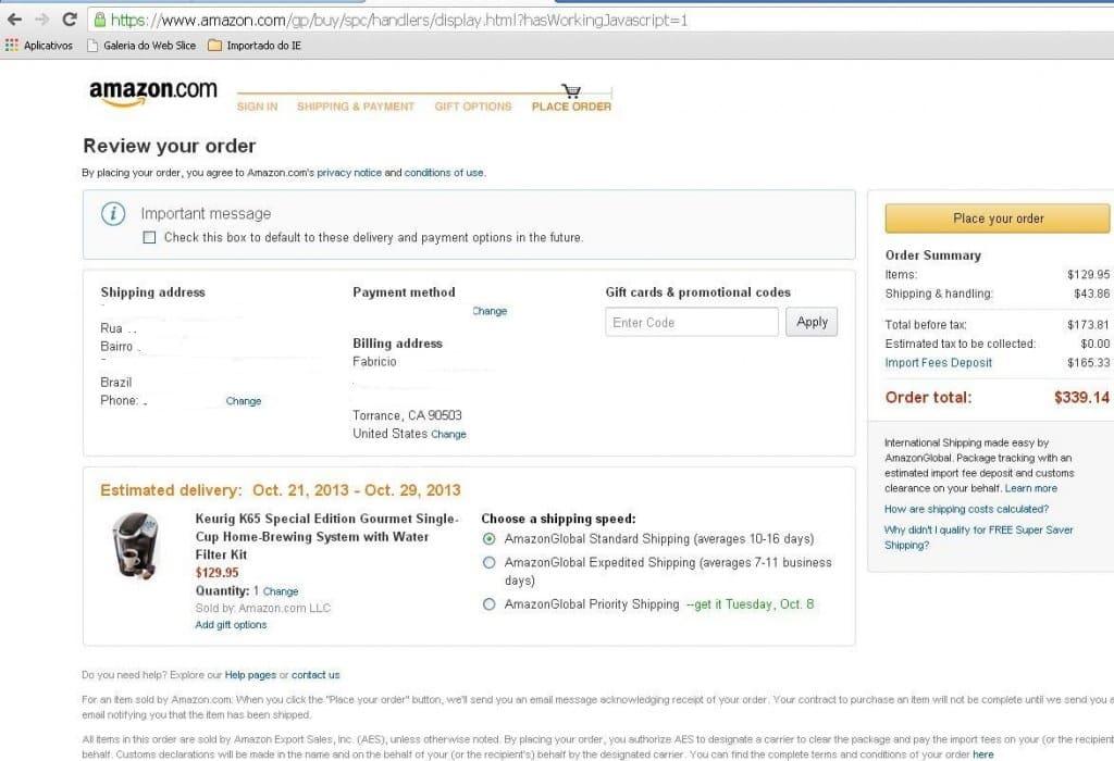 Amazon enviando para o Brasil