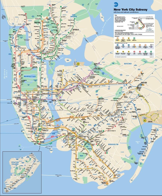 mapa metro de Nova York