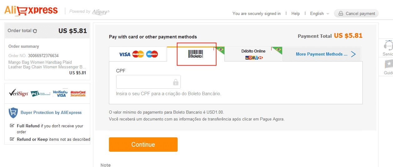 aliexpress pagamentos