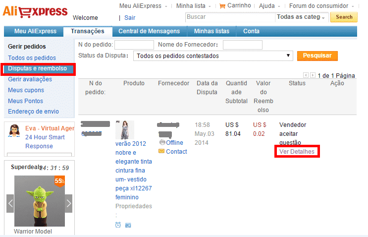 disputas aliexpress