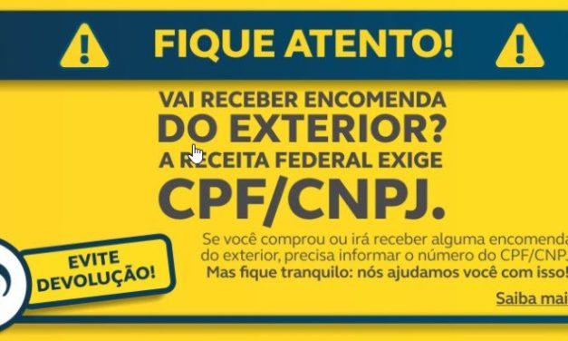 Receita Federal exigirá identificação de CPF/CNPJ nas encomendas e remessas internacionais