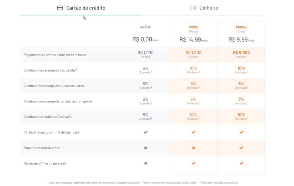 taxas recarga pay